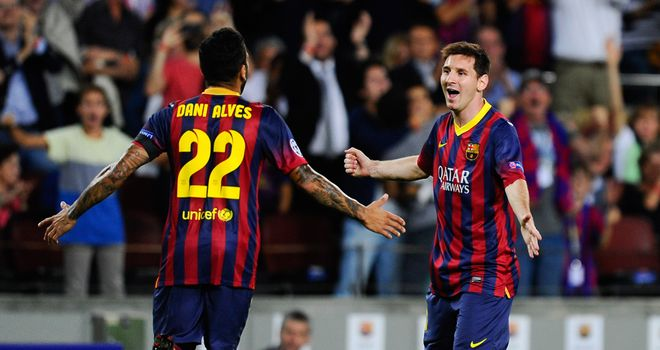 Lionel Messi: Celebrates netting his hat-trick against Ajax