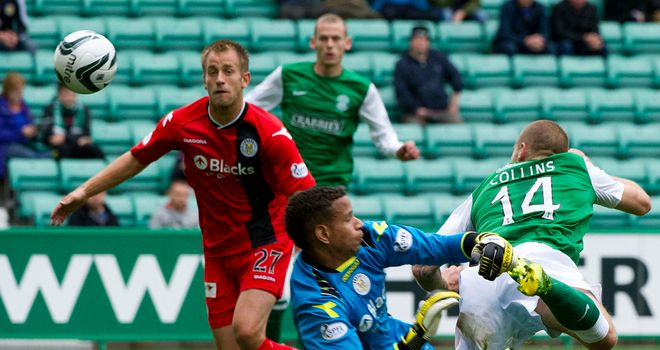 James Collins: Nods Hibernian ahead against St Mirren