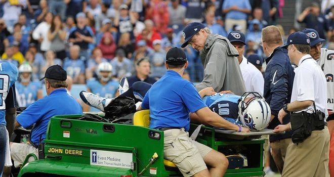 Jake Locker: Had to be taken from the field on a cart during the third quarter on Sunday