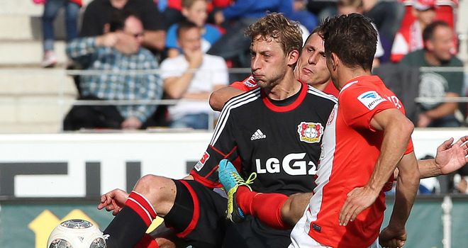 Leverkusen's Stefan Kiesling and Yunus Malli of Mainz