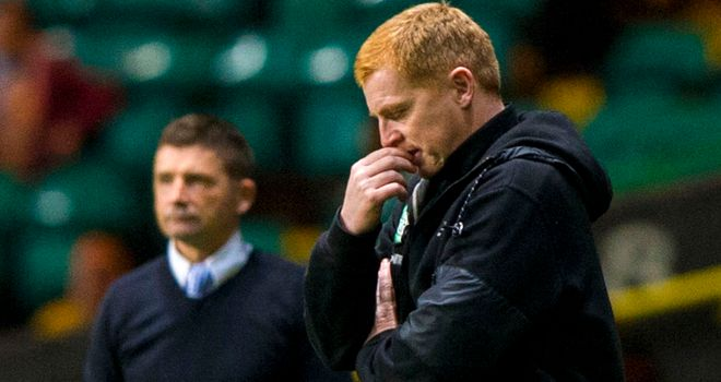 Neil Lennon: Dejected during Celtic's loss to Allan Moore's Morton
