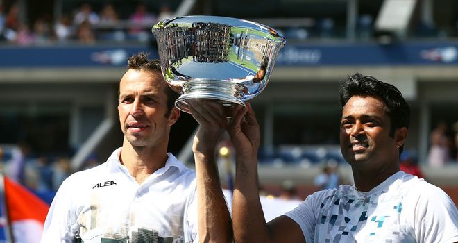 Radek Stepanek and Leander Paes: Celebrating their second grand slam title, having also won last year's Australian Open