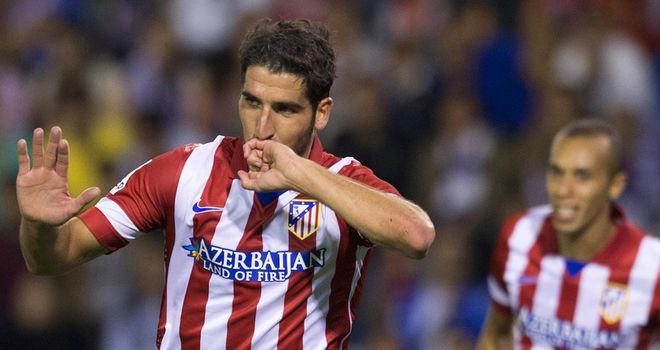 Raul garcia after heading home for Atletico