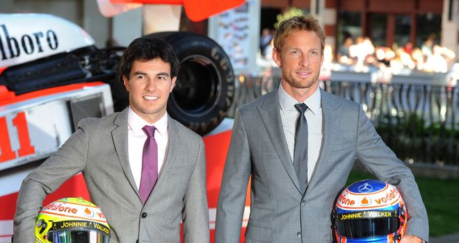 Button and team-mate Sergio Perez at the Rush premiere on Monday
