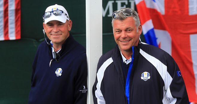 Thomas Bjorn (left): Has backing of Darren Clarke (right)