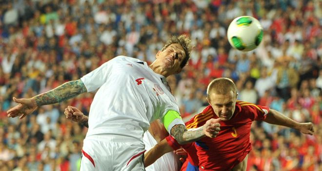 Daniel Agger in action against Armenia
