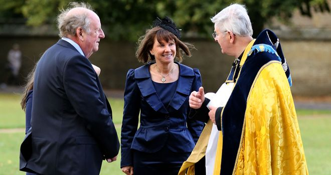 Lady Cecil arrives at the service at Ely Cathedral