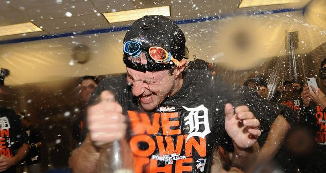 Max Scherzer celebrates Detroit's title win after helping toss a shutout against the Twins