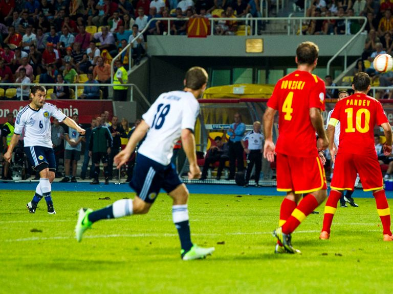 Shaun Maloney scores Scotland's winner in Macedonia.