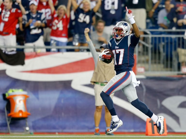 Aaron Dobson: Celebrates his touchdown for the New England Patriots