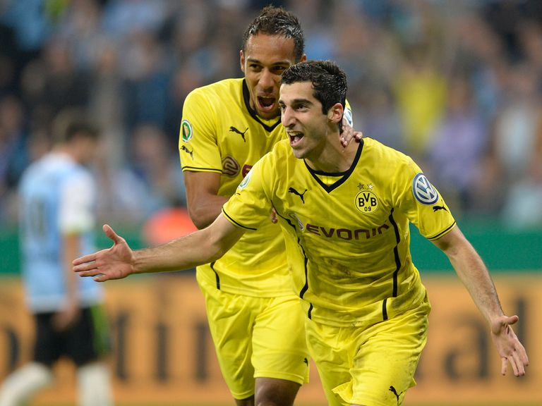 Henrikh Mkhitaryan celebrates his goal for Dortmund.