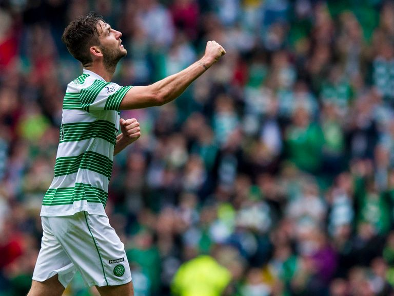 Charlie Mulgrew celebrates in Celtic's win against St Johnstone.