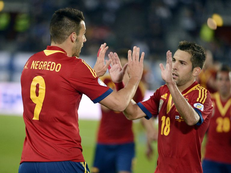 Alvaro Negredo and Jordi Alba celebrate Spain's win