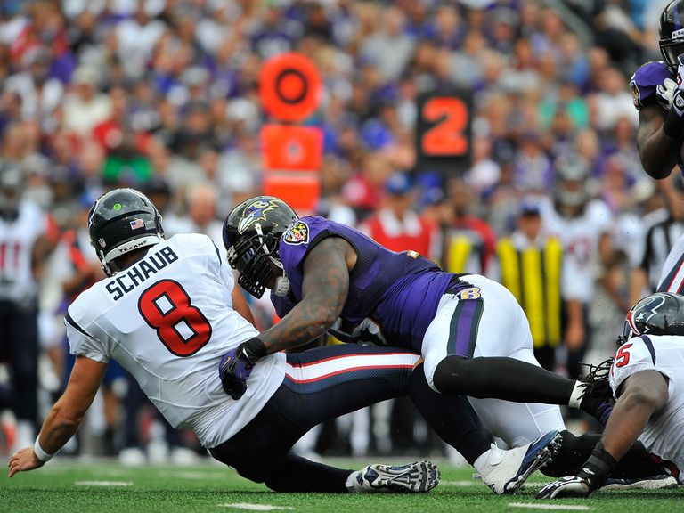 Terrell Suggs gets to Schaub for the sack