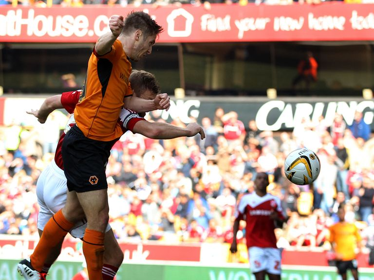 Kevin  Doyle nets Wolves' second goal against Swindon