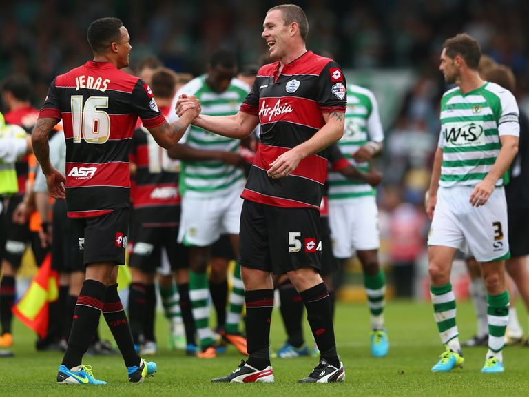 QPR celebrate the 1-0 victory at Yeovil.