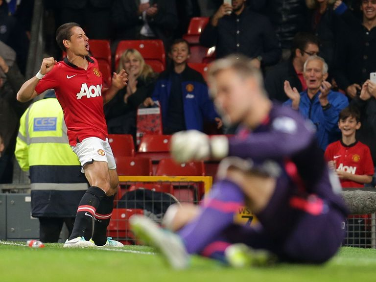 Javier Hernandez celebrates his winner against Liverpool.