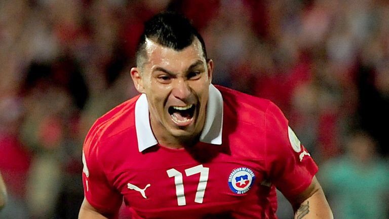 Gary Medel: Celebrates Chile's winner against Ecuador