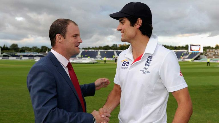 Andrew Strauss with current England captain Alastair Cook ahead of the fourth Ashes Test in Durham