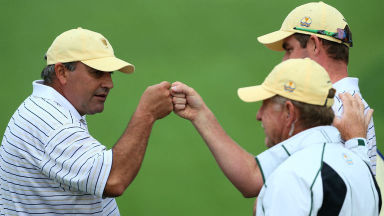 Angel Cabrera and Mark Leishman: A birdie on the 17th green helped the Internationals to a valuable point
