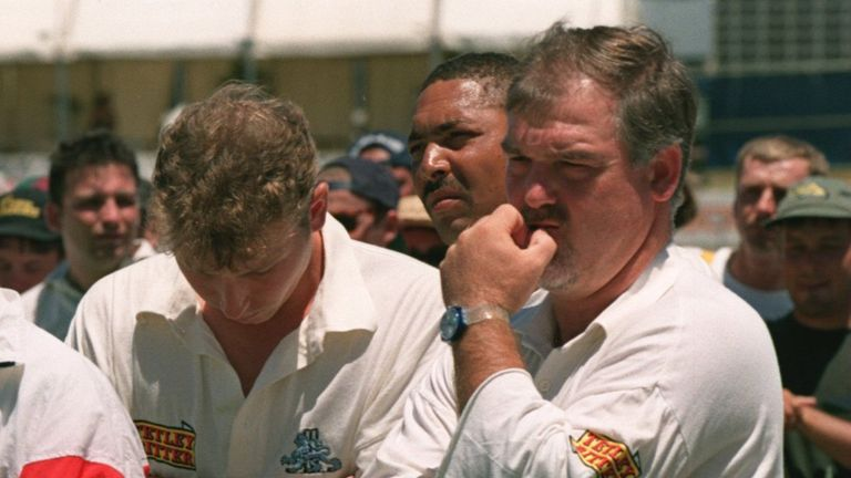 Mike Atherton, Phil DeFreitas and Mike Gatting contemplate England's 3-1 defeat