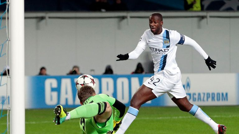 Yaya Toure: Manchester City midfielder in action in Moscow on Tueday night