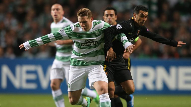 Kris Commons: Battles with Pedro during the Champions League game at Celtic Park