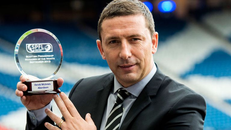 Aberdeen's form earned McInnes September's Manager of the Month award