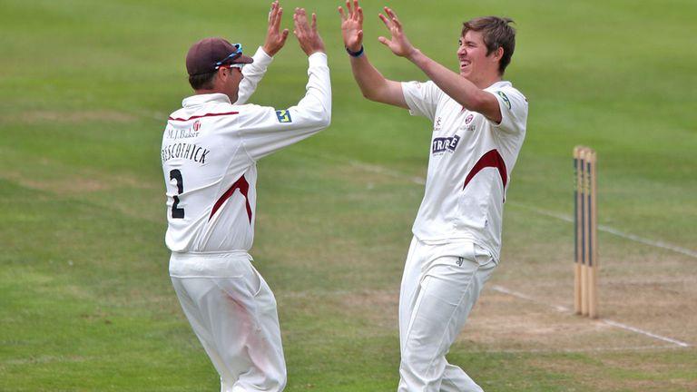 England prospect Jamie Overturn celebrates a Somerset wicket