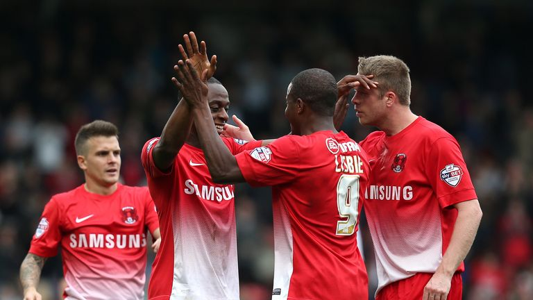 Moses Odubajo and Kevin Lisbie: Celebrate goal