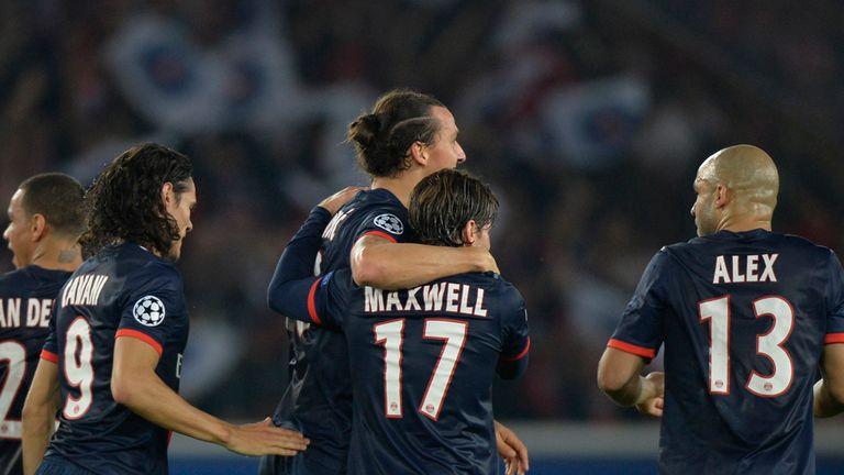 Zlatan Ibrahimovic celebrates one of his two goals