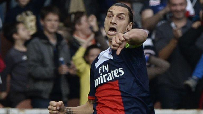 Zlatan Ibrahimovic: Celebrates one of his two goals