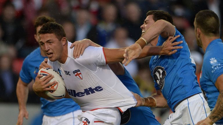 Sam Burgess: England forward breaks through the Italian defence