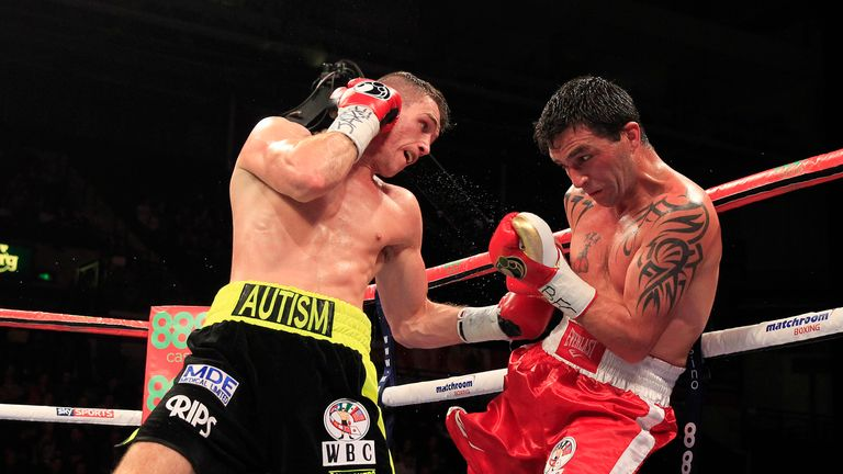 Callum Smith lands a shot against Ruben Acosta (photo courtesy of Lawrence Lustig)