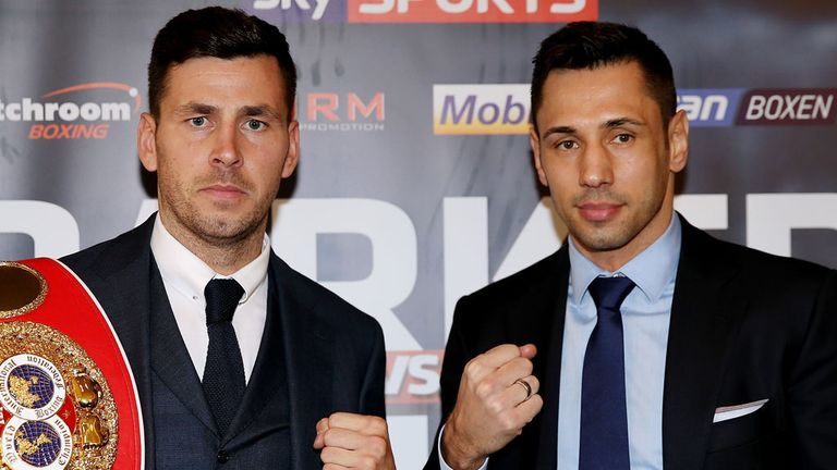 Darren Barker (L) face-to-face with Felix Sturm on Thursday
