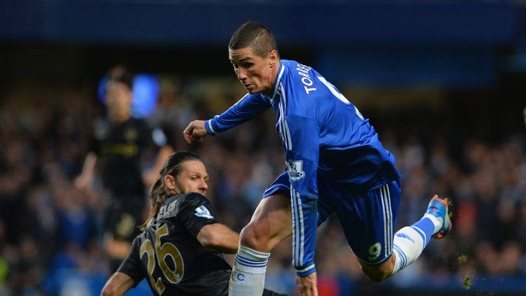 Martin Demichelis: Tussles with Fernando Torres during the defeat at Chelsea.
