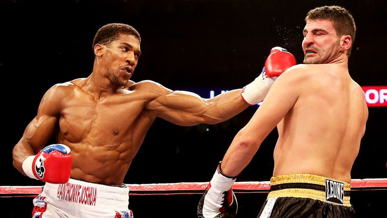 Anthony Joshua (left): Knocked out Emanuele Leo in a round on his pro debut