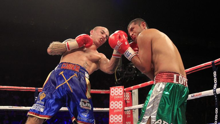 Kevin Mitchell lands a punch at the O2 Arena (Picture courtesy of Lawrence Lustig)