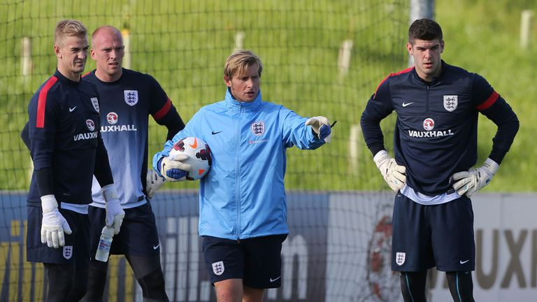 Joe Hart (left) with fellow England goalkeepers John Ruddy and Fraser Forster and coach Dave Watson