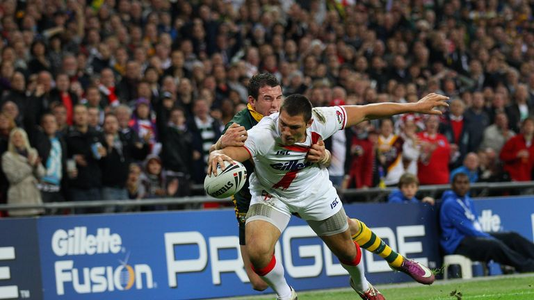 Ryan Hall scores against Australia at Wembley Stadium in 2011
