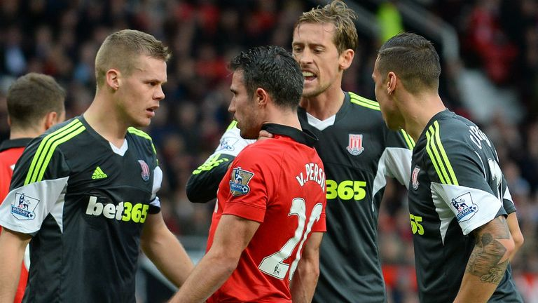 Ryan Shawcross: Involved in an angry exchange with Robin van Persie
