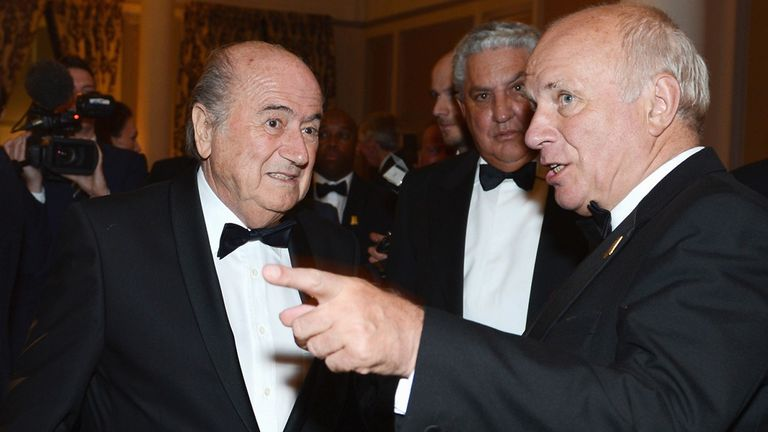 Sepp Blatter and FA chairman Greg Dyke at the FA 150th anniversary gala