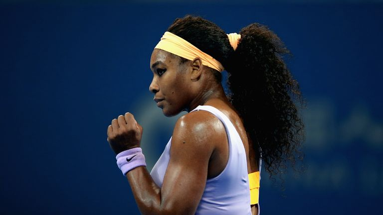 Serena Williams celebrates during her quarter-final win over Caroline Wozniacki