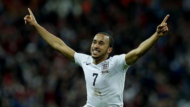 Andros Townsend: Celebrates his superb strike that put England 3-1 up against Montenegro