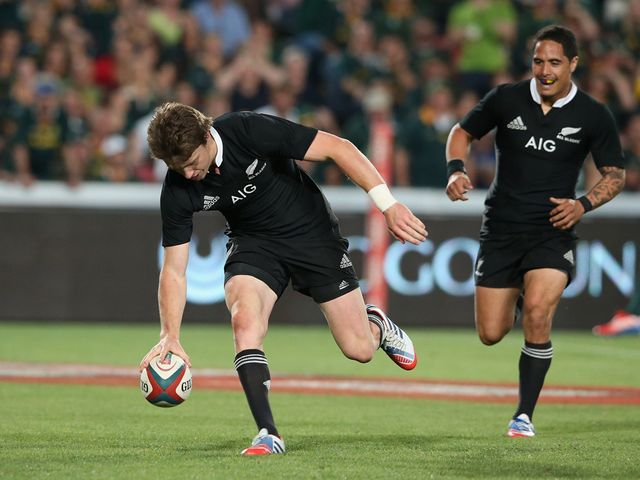 Beauden Barrett touches down for the All Blacks