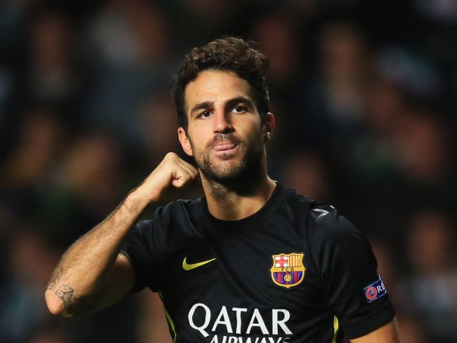 Cesc Fabregas celebrates his goal for Barcelona