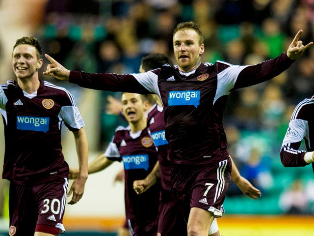 Hearts striker Ryan Stevenson celebrates