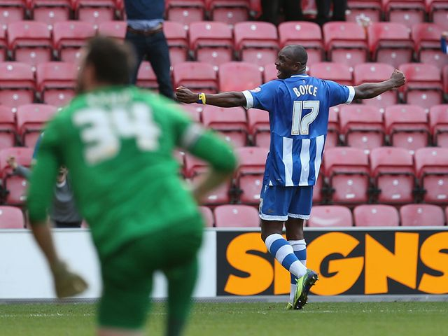 Emmerson Boyce celebrates his last-gasp winner