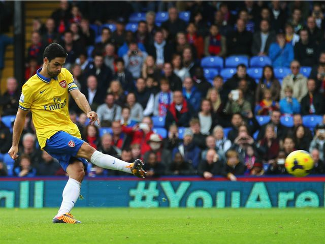 Mikel Arteta scores from the penalty spot.