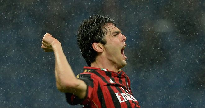 Kaka celebrates his goal for AC Milan